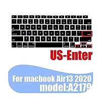 ラップトップキーボードカバースキンAir13 2020A2179用ソフトカラーシリコン保護カバーfor MacBookAir13.3キーボードケースfor Apple用 -US Dark blue