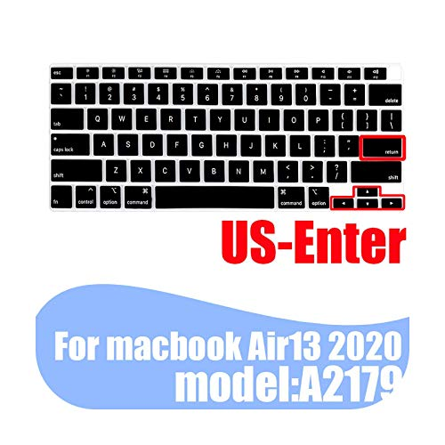 laptop keyboard cover skin For Air 13 2020 A2179 Soft colored silicone protective cover For MacBook Air13.3 keyboard case For -US black-