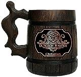 Dungeon Master Mug. Dungeons & Dragons Mug. Gamer Mug. Wooden Beer Tankard. Gift for Boyfriend. Wood Stein Wooden Beer Mug. D&D Tankard. Geek Gift. Gifts for Gamer. Gift for Him #161 /0.6L / 22 ounces