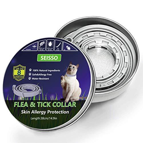 SEISSO Ungezieferhalsband für Katze, 38cm Zecken- und Flohhalsband für Katzen