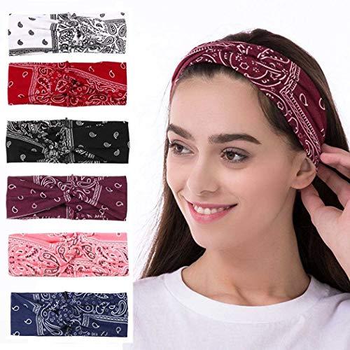 Bohend Boho Stirnband Breite Elastische Boho Bandeau Criss Cross Haarband Sport Yoga Tägliche Nutzung Haar-Asse für Frauen und Mädchen (6 Stück)