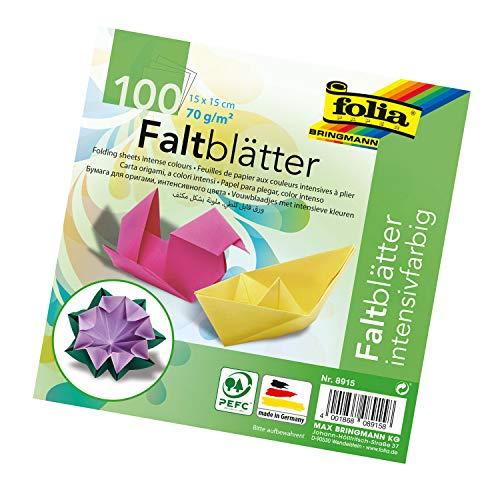 folia 8915 - Faltblätter 15 x 15 cm, 70 g/qm, 100 Blatt sortiert in 10 intensiven Farben - ideal zum Papierfalten und für andere kreative Bastelarbeiten