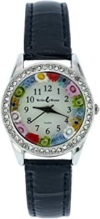 GlassOfVenice Murano Glass Watch Millefiori and Crystals with Leather Band - Black