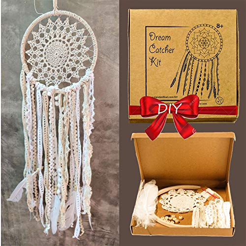 Mandala Life ART DIY Black Dream Catcher Kit 12x25 inches - Make Your Own Bohemian Wall Hanging with All-Natural Materials - Creative Activity Set