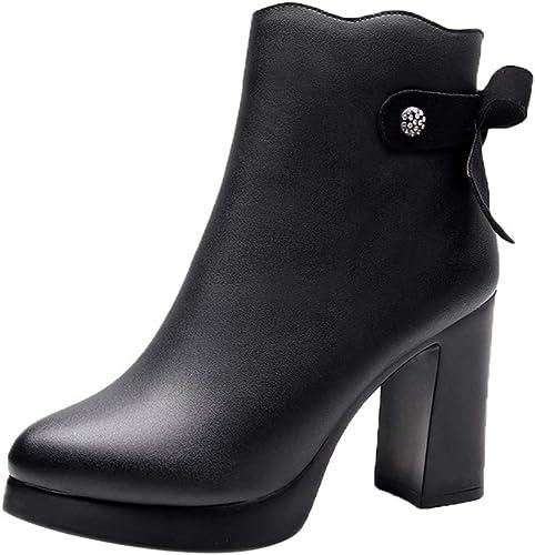 Yanyan Chunky Heel Rugueux Talon Haut Bottes Martin Bottes Plate-Forme Chaussures Zipper Pompons Chaussures Noir