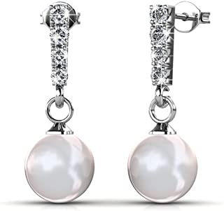 Gabrielle 18K White Gold Earrings with Swarovski Crystal & Pearls, Drop Dangle Pearl Stud Earring Set, Wedding Anniversary Special Occasion Jewelry, Silver Earrings for Women