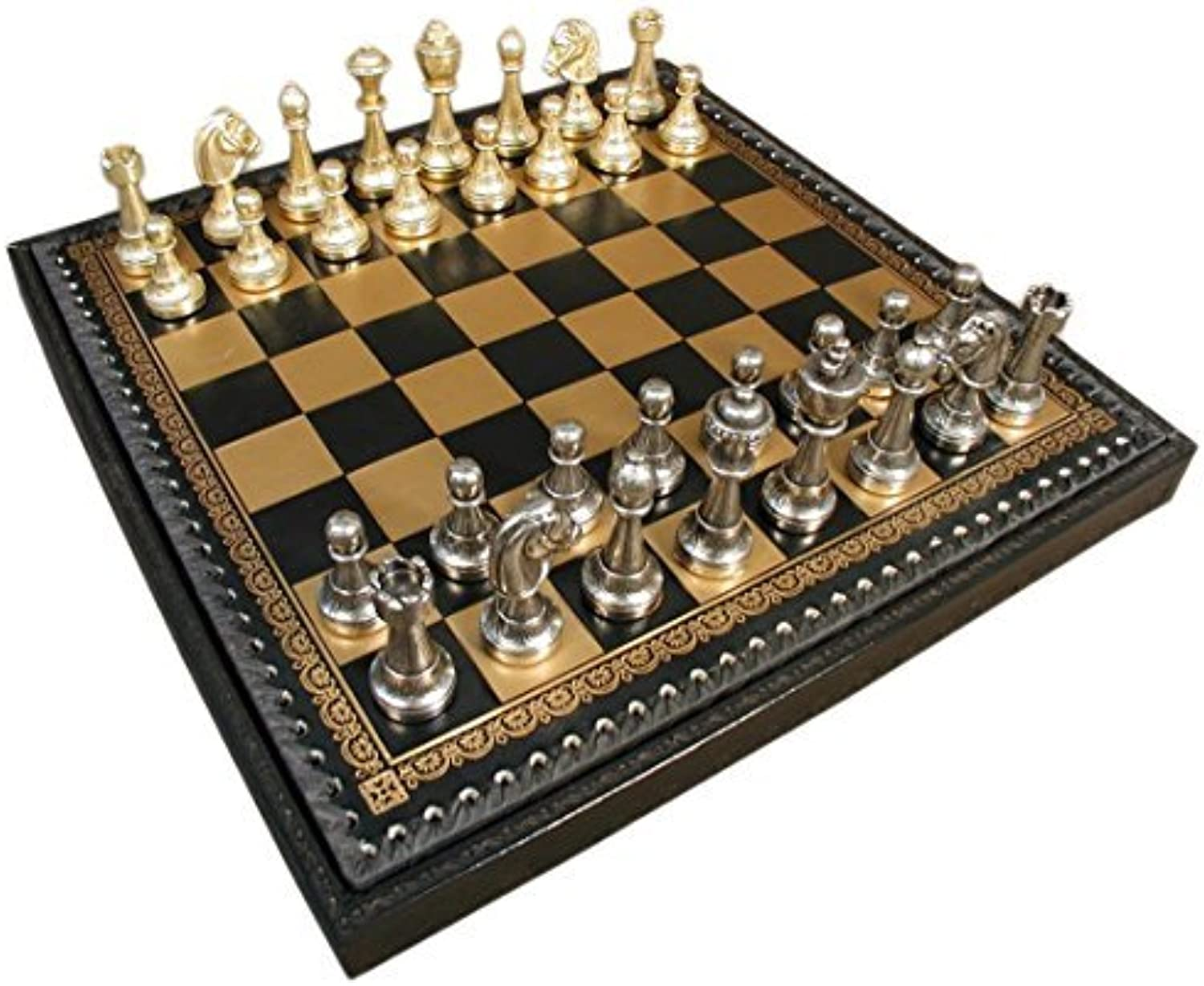 Staunton Metal on Leather Chest Chess Set by Italfama