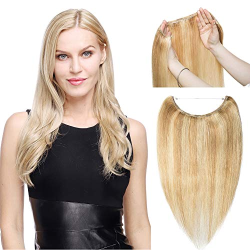 Hidden Invisible Crown Human Hair Extension Secret Miracle Wire in Hairpieces One Piece No Clip No Tape in Remy Hair Translucent Fish Line Headband for Women 60g 16''/16inch #6 Light Brown