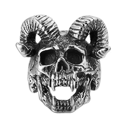 Anillo de Calavera de Cuerno de Cabra Acero Inoxidable para Hombre, Vintage Satan Worship Aries Zodiac Sheep Head Biker Rings Amuleto Talismán Joyería Tamaño 7-13,13