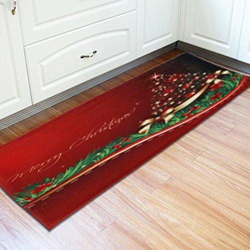 Xshuai 60 cm x 180 cm Frohe Weihnachten Santa Schneemann Print Boden Eingang Tür Bad Matte Innen Badewanne Teppich Fußmatten Decor (C)