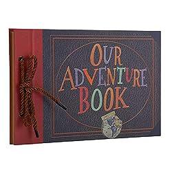 AIOR Scrapbook Fotoalbum zum Selbstgestalten, Our Adventure Book Album, Vintage DIY Fotoalben Hochzeit Gästebuch Fotobuch 80 Kraftpapier Seiten für Weihnachten Geburtstag Jahrestag Geschenk