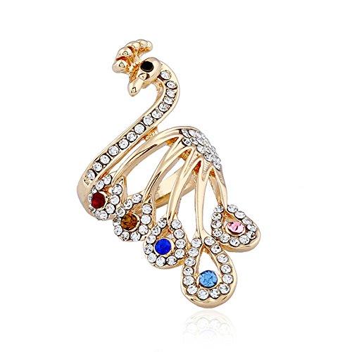 Yosemite - Anillo para dedo de aleación de pavo real con diamantes de imitación para mujer, joyería de boda y fiesta, dorado, 20