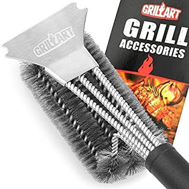GRILLART Grill Brush and Scraper Best BBQ Brush for Grill, Safe 18  Stainless Steel Woven Wire 3 in 1 Bristles Grill Cleaning Brush for Weber Gas/Charcoal Grill, Gifts for Grill Wizard Grate Cleaner