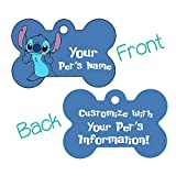 Double Sided Pet Id Tags for Dogs & Cats Personalized for Your Pet (Stitch, Bone Shaped)