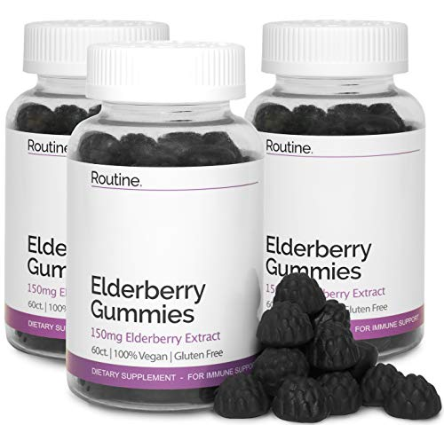 Elderberry Immunity Booster Gummies with Vitamin C and Zinc - 150MG - All Natural and Delicious Immune Support Gummy for Adults and Kids. Non-GMO - No Gelatin - Gluten Free | 3 Bottles