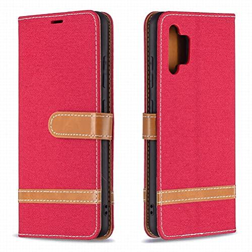 Yiizy Funda para Samsung Galaxy A32 4G, Carcasa Galaxy A32 4G Funda de Cuero con Tapa, Fundas para Tarjeteros de Crédito, Cierre Magnético Silicona Protector Estuche Samsung Galaxy A32 4G (Rojo)