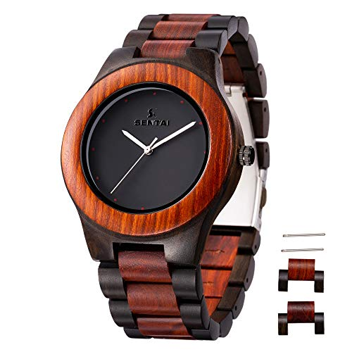 Sentai Herren Uhren Holz Armbanduhr Analoge Japanisch Holzuhr Quarzwerk Uhr mit Geschenkbox (rot + schwarz)