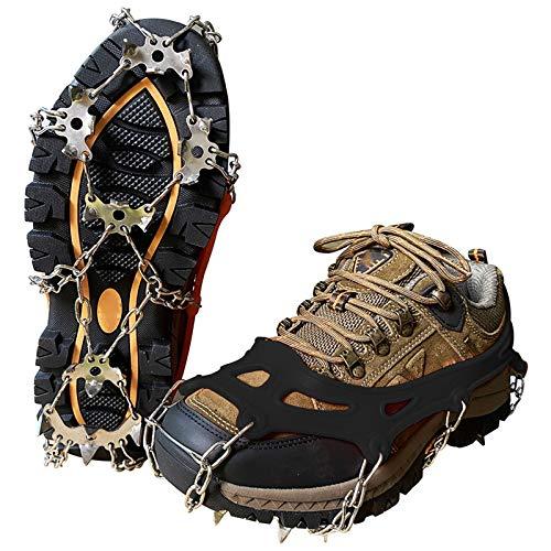 Trendyest Schuhspikes 5 Paare, Steigeisen für Bergschuhe, Ice Klampen Steigeisen mit 19 Edelstahl Zähne Spikes, Edelstahl Spikes, Schuhkrallen Anti Rutsch Schuhspikes (L(40-45))