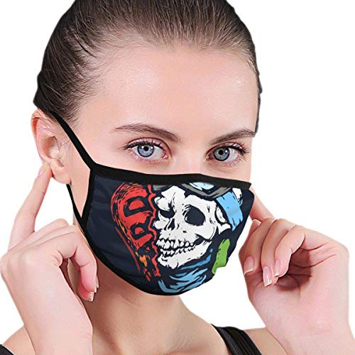 Preisvergleich Produktbild shifeiwanglu Unisex Mundmaske, Washable Reusable Mask 6.8 X 4.7 Men's and Women's Dust-Proof Adjustable Earrings Dust-Proof Half Face Mask, Skull with Ski Goggles,  Snowboard and Glove