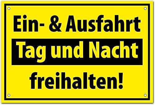 """Hochwertiges Schild """" EINFAHRT AUSFAHRT FREIHALTEN """" 300 x 200 mm rechteckig   Ein & Ausfahrt   Tag und Nacht freihalten  """