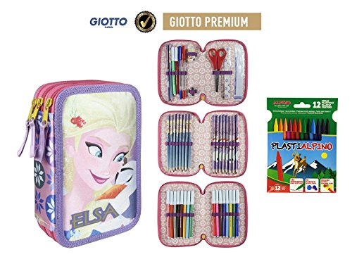 Plumier Estuche Premium de Cremallera Triple 3 Pisos Frozen - Elsa - 43 Piezas Contenido Giotto + Regalo 12 Ceras Alpino Plastialpino