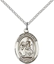 F A Dumont Sterling Silver St. Catherine of Siena Pendant with 18