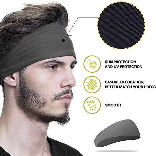 BXFUL Mens Headband (4 Pack), Mens Sweatband & Sports Headband for Running, Crossfit, Cycling, Yoga, Basketball - Stretchy Moisture Wicking Unisex Hairband