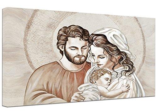 Punto Digital Quadro Capezzale Sacra Famiglia F cm.120x60 Moderno Intelaiato Stampa su Tela Cotone Telaio in Legno Spessore cm.2