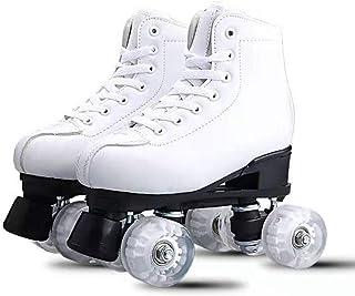 DUBUK Women's Roller Skates PU Leather Four-Wheel Roller Skates High-top Roller Skates Shiny Roller Skates for Adult, Boys, Girls