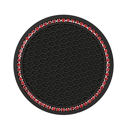 BAHER Posavasos para coche con diseño de cristales de 7 cm (negro con diamantes de imitación rojos)