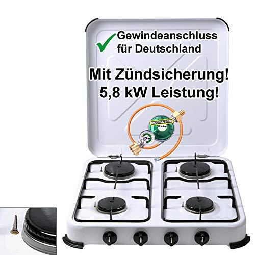 CAGO Campingkocher Gaskocher 4-flammig mit Zündsicherung | inkl. Gasschlauch und Gasregler mit Manometer Gas Füllstandsanzeige und Schlauchbruchsicherung | Propangas Kochfeld 2 3