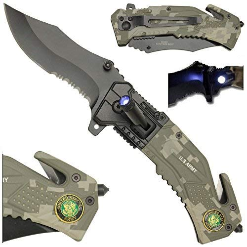 LED Flashlight Tactical Rescue Pocket Knife US Army Camo