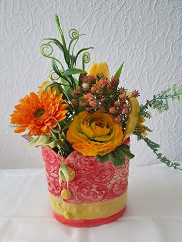 Keramik Vase Handtasche Kunstblumen Ranunkel Gerbera