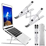 "Laptop Stand, Laptop Holder Riser Computer Stand, Adjustable Aluminum Foldable Portable Notebook Stand, Compatible with MacBook Air Pro, HP, Lenovo, Dell, More 10-15.6"" Laptops and Tablets (Silver)"