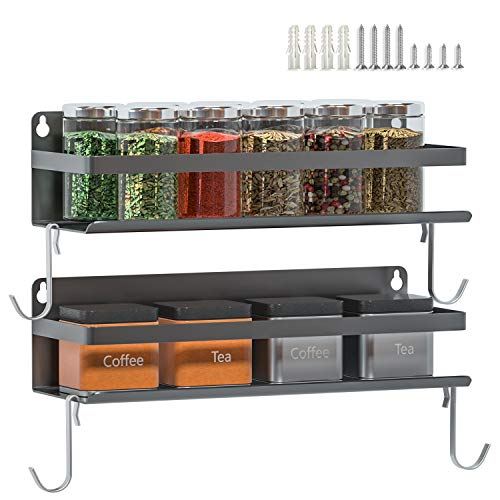 Magnetic Fridge Spice Rack | Strongly Magnetic Spice Shelf with Extra Hooks | Refrigerator Spice Storage | Kitchen Storage Rack for Placing Seasoning Bottles (2 Pack)