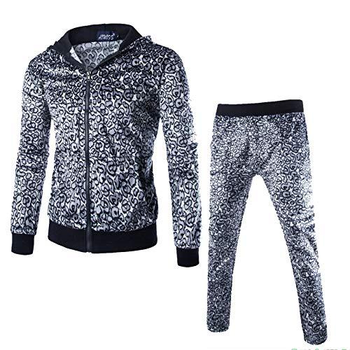 JDLAX para Hombre Leopardo Sudaderas Conjunto otoño Impresiones Postal Arriba la Camiseta Tops Pantalones Fija el Juego de Deportes Grey-XXL