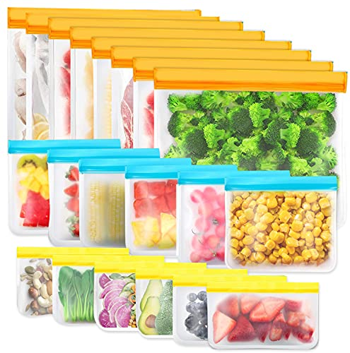 20 Piezas Bolsas de Almacenamiento Reutilizables, Bolsa Silicona Reutilizables sin BPA, Bolsas de Almuerzo Ziplock Snack, Bolsas de Alimentos Ecológicas e Impermeables para Frutas, Almuerzos, Viajes