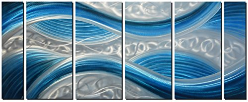 "Handmade Abstract Metal Wall Art with Soft Color, Large Scale Decor in Blue Line Design Metal Art, 3D Artwork for Indoor Outdoor Wall Decorations, Decorative Hanging in 6-Panels Measures 24""x 65"""