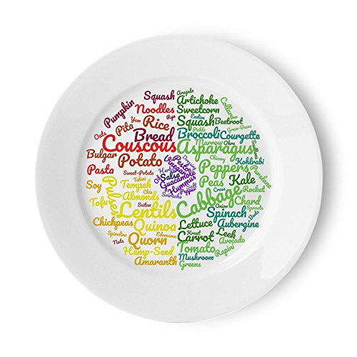 Vegan Healthy Eating Plate | Beautifully Designed Easy Sections to Follow a Vegan or Vegetarian Diet | 10 Inch Meal Plate for Food Ideas & Portion Control for Sustainable Weight Loss
