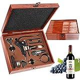 RERXN Antike Holzkiste Weinzubehör Geschenkset, Kaninchen Weinöffner, Wein Korkenzieher Weinverschluss und Weinausgießer Set (Brown)