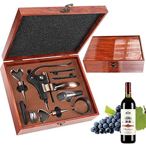 RERXN Set Regalo Accessori per Vino Scatola di Legno con Superficie Lucida,Set Apri Vino,Set Regalo Vino cavatappi Vino Coniglio per Uomo (marrone)