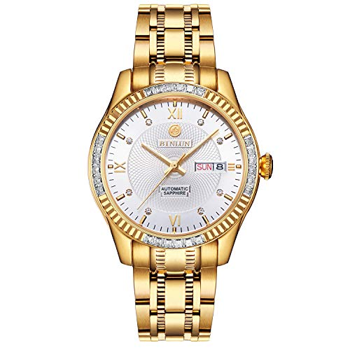 BINLUN 18K Gold-Plated Men's Luxury Watch Japanese Automatic with Calendar Waterproof Watches for Men with White Dial