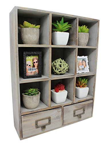 Vintage Rustic Torched Wood Cubby Storage Wall Mountable Shadow...