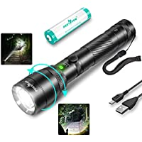 Peetpen LED Zoomable USB Rechargeable Flashlight With 18650 Battery