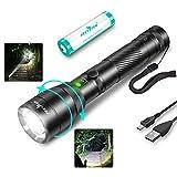 LED Taschenlampe USB Aufladung Superhell Zoombar Taschenlampen 4000 Lumen Tragbare Taktische Handlampe Wasserdicht IPX6, 4 Modi Lange Arbeitzeit, Notlicht, Camping Wandern Outdoor Licht