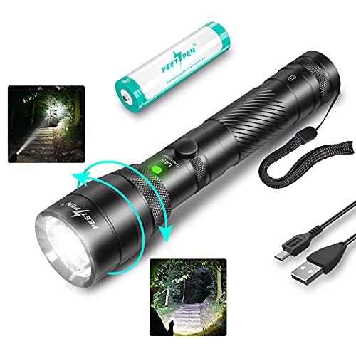 PEETPEN L45 LED Taschenlampe 4000 Lumen USB Aufladung Superhell Zoombar Taschenlampen Tragbare Handlampe Wasserdicht IPX6, 4 Modi Lange Arbeitzeit, Notlicht, Camping Wandern Outdoor Licht