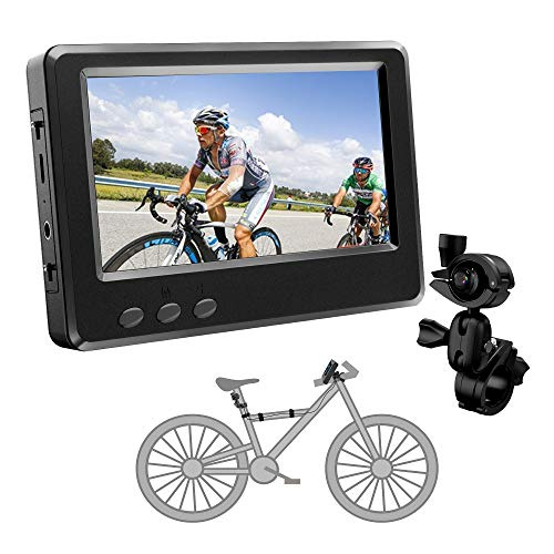 FEISIKE Handlebar Bike Mirror, Bicycle Mirror with 4.3'' HD Night Vision Function,195° Super Wide Angle, Bracket Adjustable Rotatable, Safe Bike Camera Monitor to See What's Coming from Behind