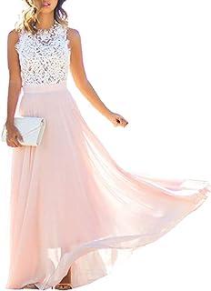 f1999809d5 BeautyGo Femme Élégante Maxie Robe Longue de Grande Taille Dentelles sans  Manches Bodycon Dress Rose de