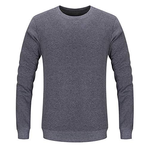 Felpa da Uomo Girocollo Manica Lunga Pullover Basic Moda Casual Slim Maglietta Business Top Colore Puro Slim Fit Morbida Comoda Classica Fitness Sport T-Shirt M