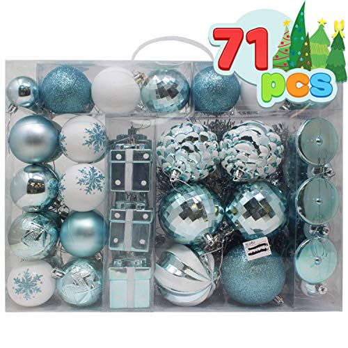 Joiedomi 71 Pcs Blue and White Christmas Assorted Ornaments with a Silver Star Tree Topper, Shatterproof Christmas Ornaments for Holidays, Party Decoration, Tree Ornaments, Events, and Christmas